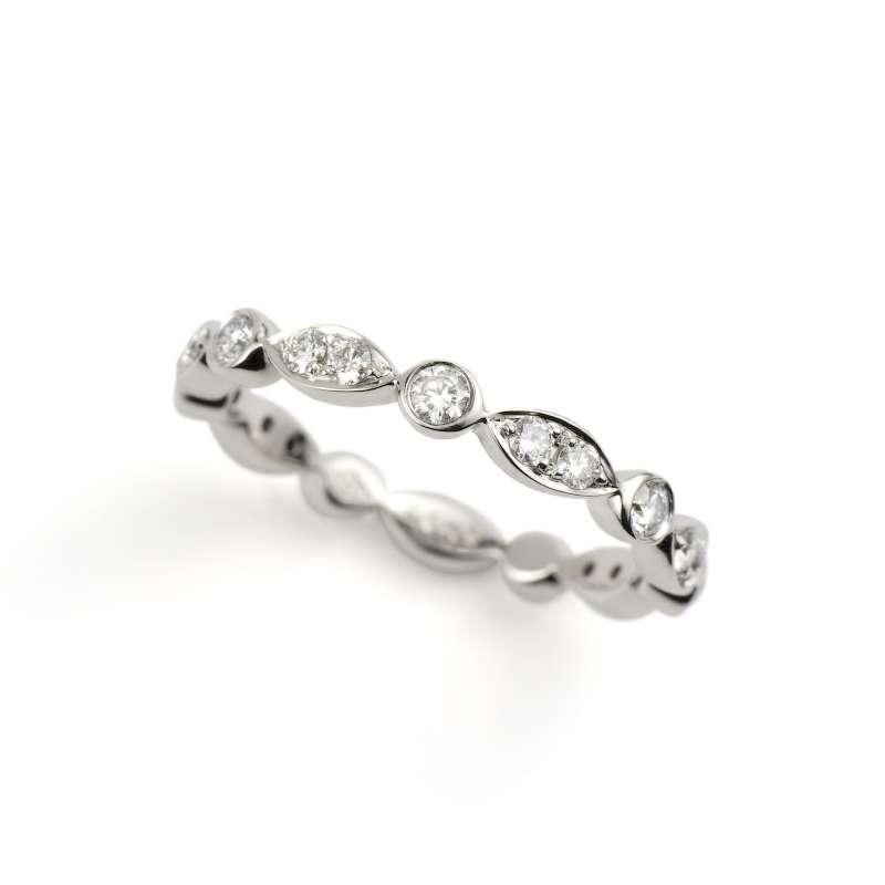 18k White Gold Round Brilliant Cut Diamond Full Eternity Ring